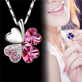 Four Leaf Clover Crystals Pendant Necklace