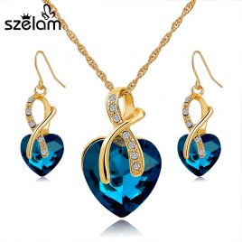 Gold Plated Necklace Earrings Jewelry Sets Ideal Wedding Gifts