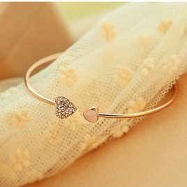 Heart Crystal Gold Plated Bracelet