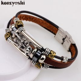Dragon Tibetan Silver Leather Bracelet