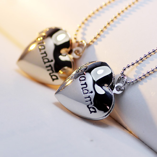 Charm Pendent Locket Necklace For Grandma